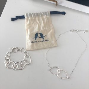 Chloe and Isabel silver necklace and bracelet set